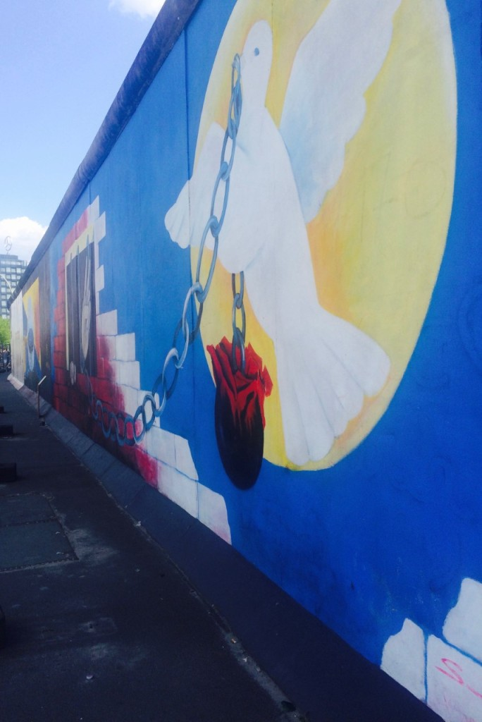 Street art on the wall at the East Side Gallery