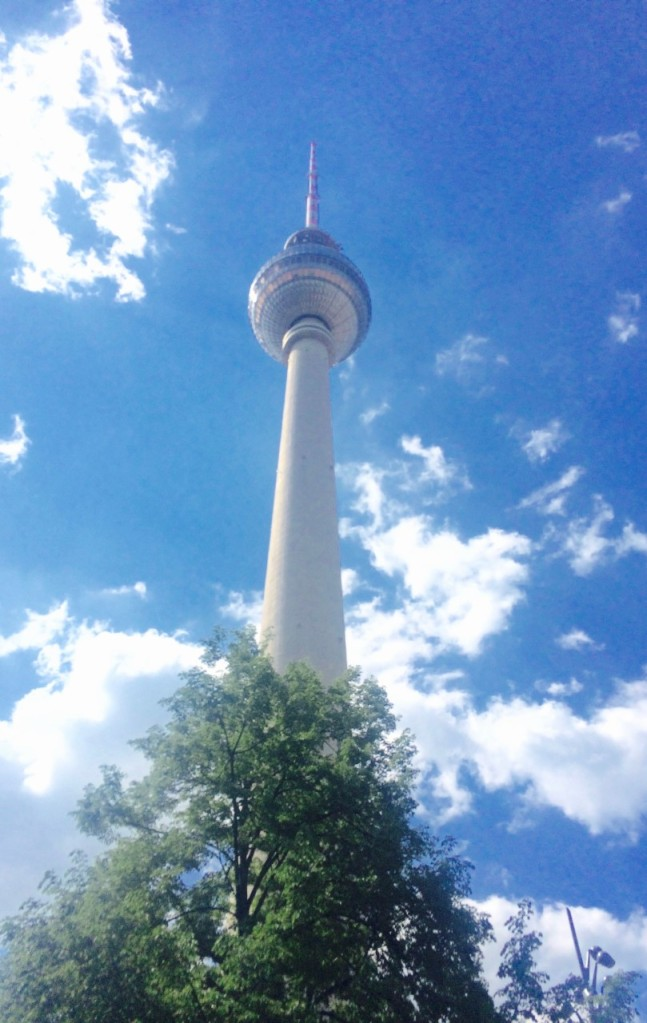 View from the bottom of the Fernsehturm Berlin