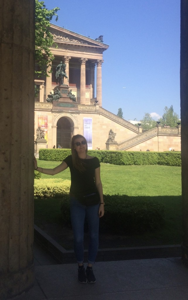 Lady in front of a museum on Museum Island in Berlin