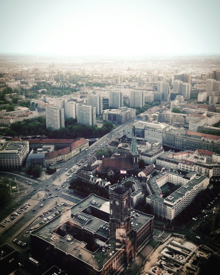 View over Berlin City from the Fernsehturm Berlin
