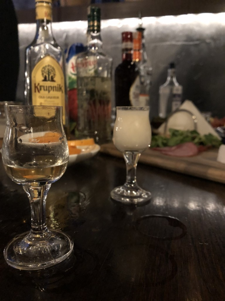 Vodka glasses on a table