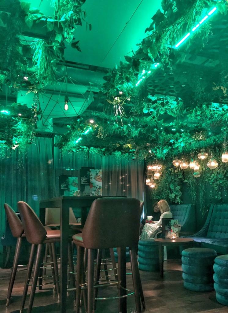 Green lighting at Malmaison Bar Edinburgh