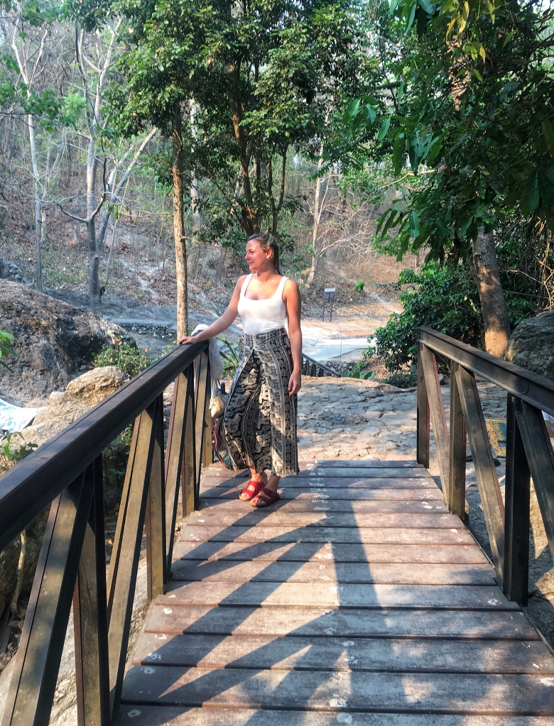 Woman on bridge at doi suthep pui national park