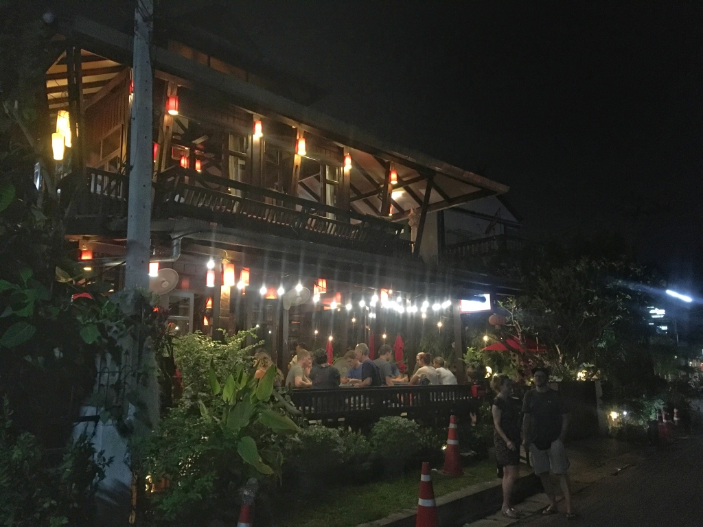 Wooden restaurant building in Chang Mai, Thailand