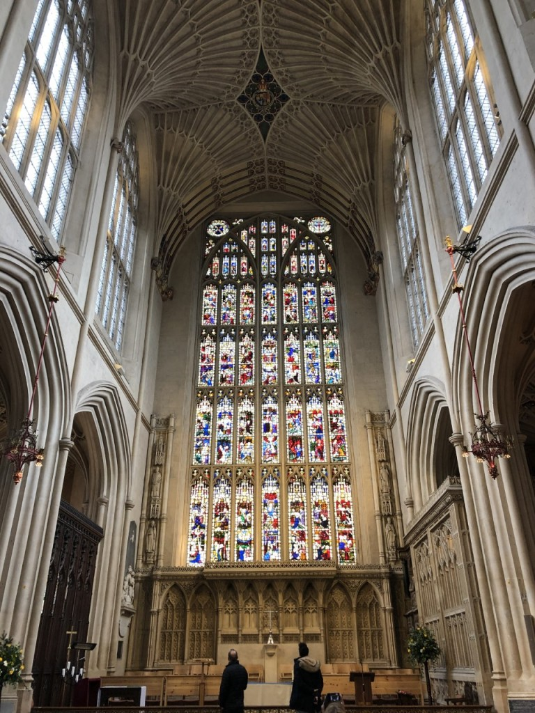 Stained glass windows at Bath Abbey