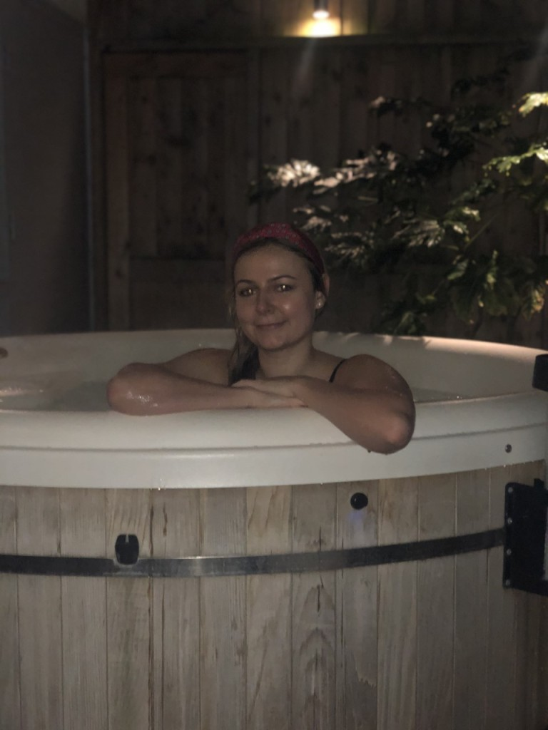 Lady in jacuzzi at Haringtons Hotel Bath