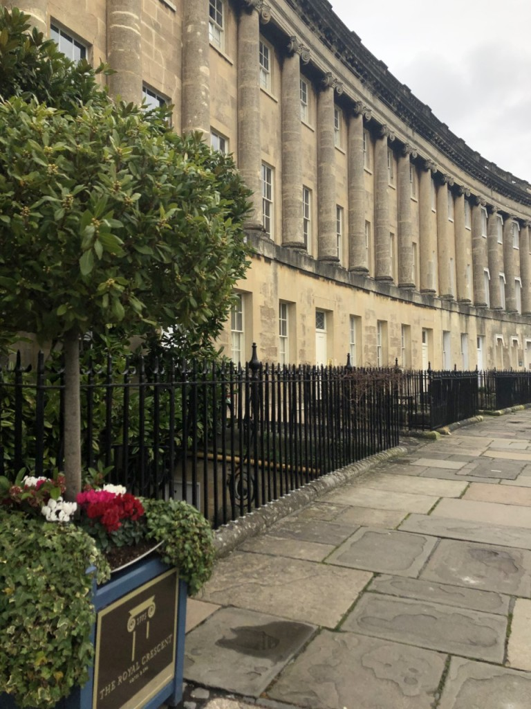 Decorative trees in front of the Royal Crescent Hotel