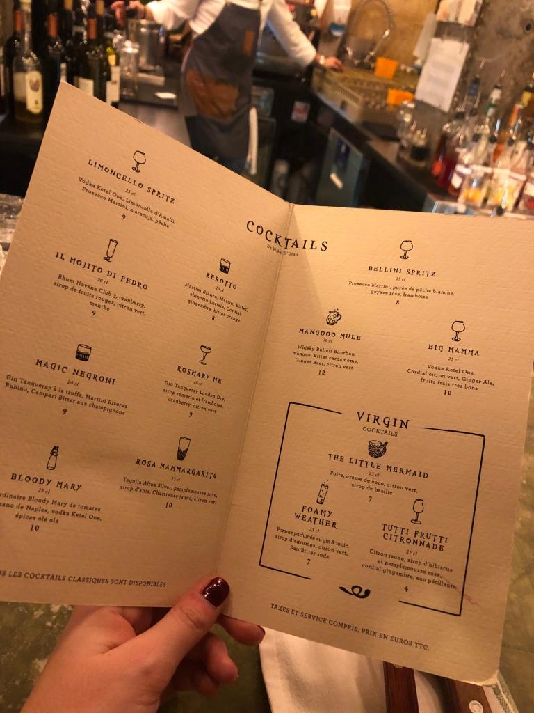 Cocktail menu at Big Mamma Paris