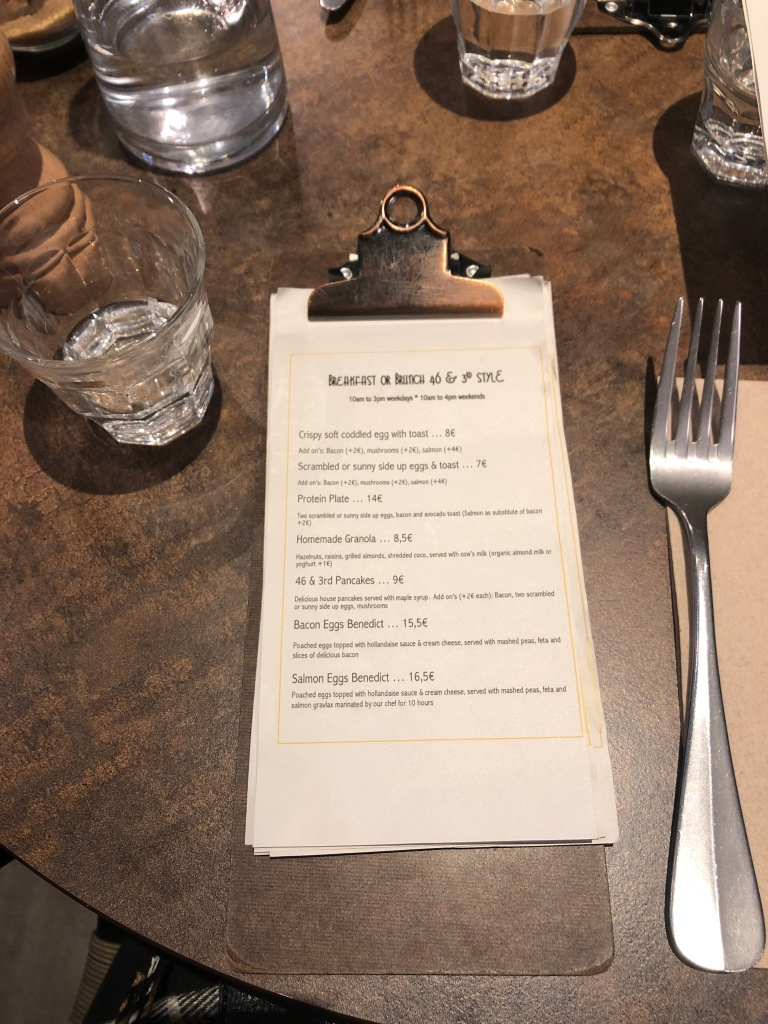 Brunch menu at Forty Six and Third Paris