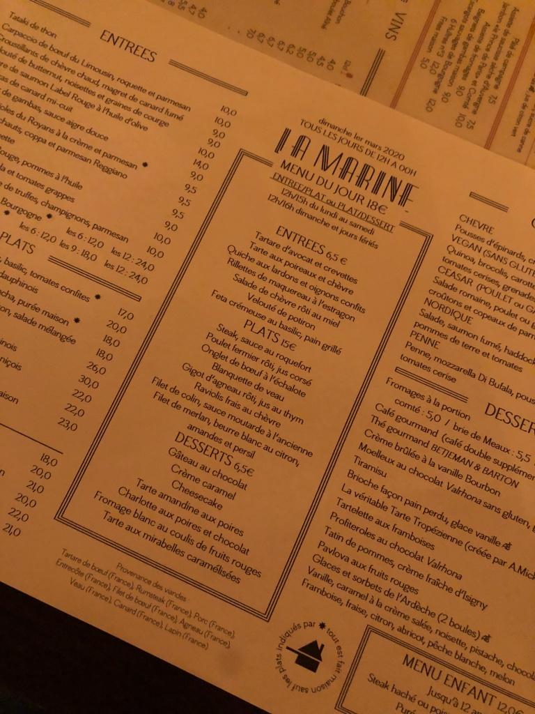 Menu at La Marine Paris