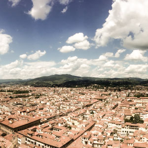 Aerial view of Florence terracotta rooftops